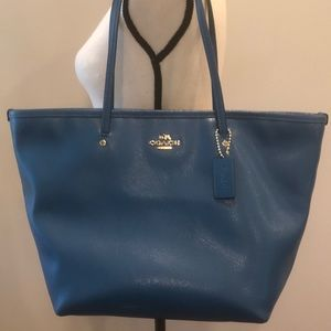 🌸Coach Teal and Gold Saffiano Leather Tote Bag.
